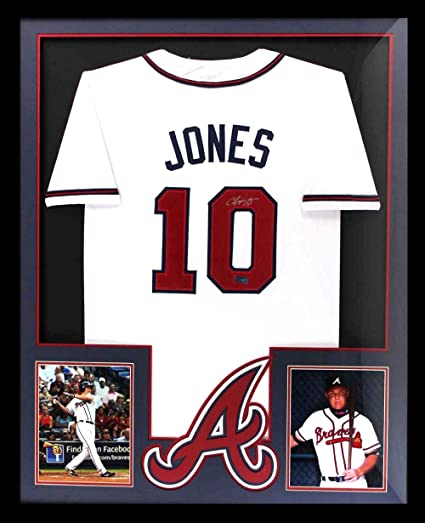 super popular a19c7 db642 Chipper Jones Autographed/Signed Atlanta Framed White Custom ...