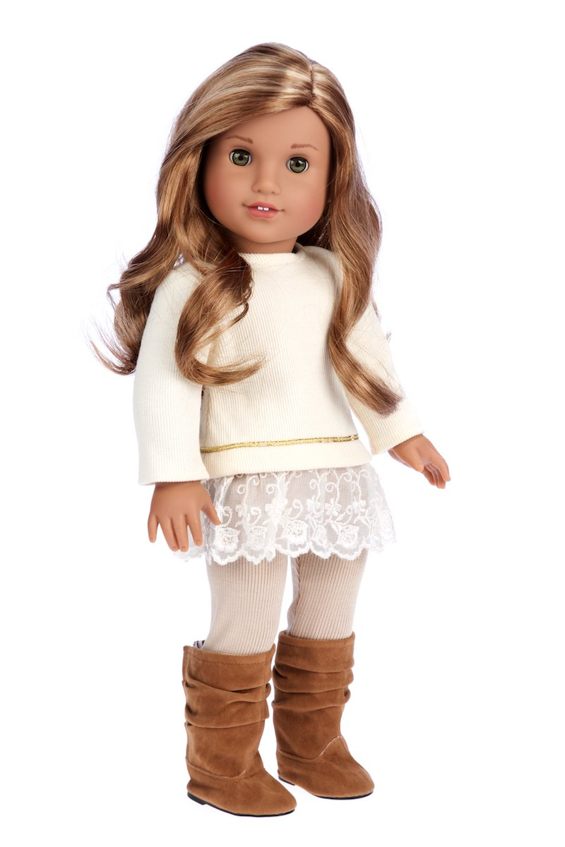 DreamWorld Collections - Romantic Melody - 3 Piece Outfit - Tunic, Leggings Boots - 18 inch Doll Clothes (Doll Not Included)