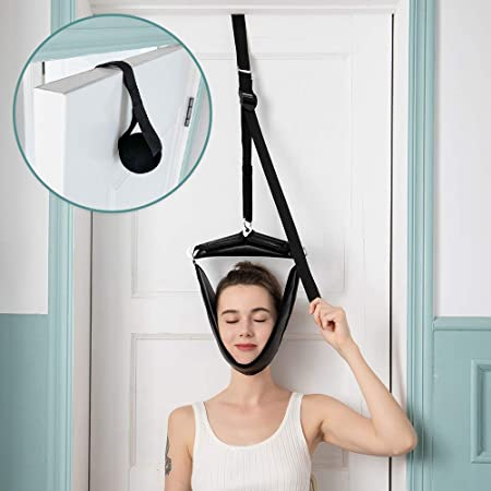 Cervical Neck Traction Device Portable Over Door Device for Neck Pain Relief, Overhead Traction Stretcher Home Physical Therapy for Arthritis, Disc Bulges and Spinal Decompression(Black)