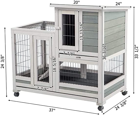 Esright Rabbit Hutch 37 Rabbit Cage For Small Animals Indoor Outdoor Outdoor Pens Hutches Houses Habitats Rayvoltbike Com