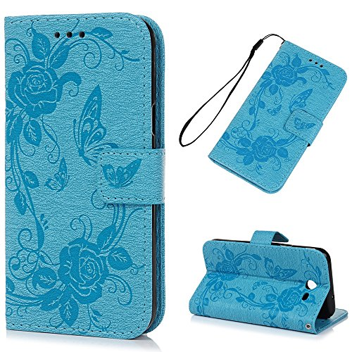J3 Emerge/J3 2017 Case Wallet, KASOS Embossed Flower Butterfly PU Leather Wallet Case with Kickstand Soft TPU Inner Shell Card Holders & Hand Strap Magnetic Front Closure Cover for Samaung - Blue