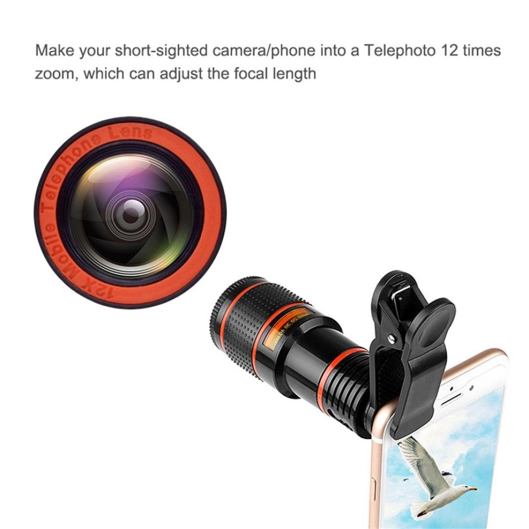 Hot 12X Zoom Telephoto Cell Phone Camera Lens, Tuscom Zoom Telephoto Universal Clip On Lens Kit for iPhone 8/7/6S/6 Plus/5/4,Samsung,Samsung, Google, LG, Android and Other Phones (Black) by Tuscom (Image #4)