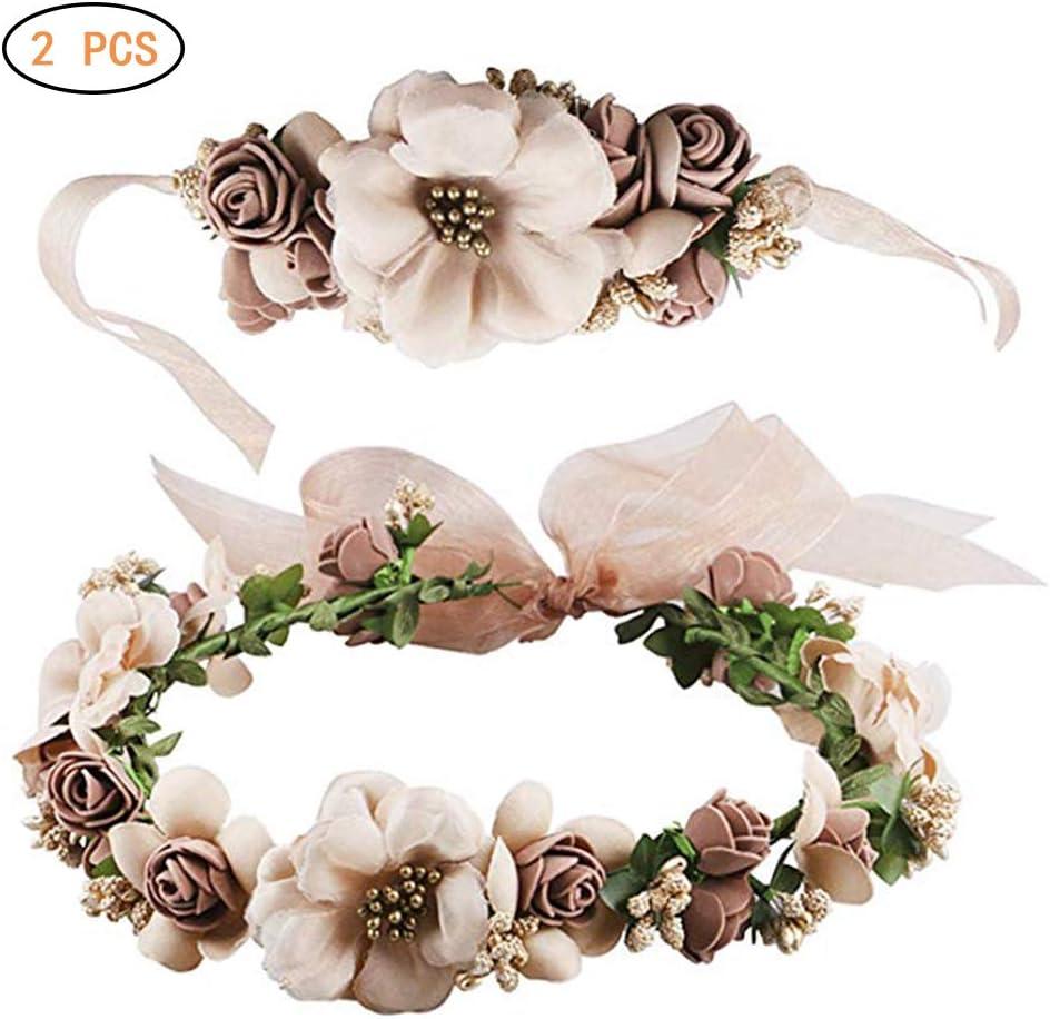 Surenhap Blumenkranz Haare und Arm Haarschmuck Hochzeit Blumenstirnband Blumenkrone mit Armband f/ür Strand Hochzeit Braut Fotografie Party Muttertag Braun