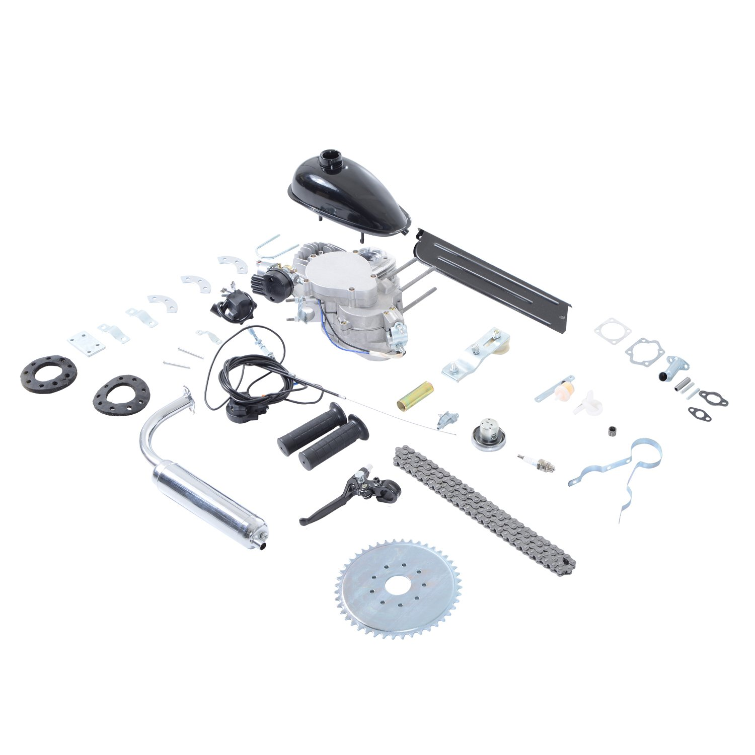 Aosom 60cc 2 Stroke Gas Engine Motor Kit for 26'' or 28'' Bicycle - Silver by Aosom