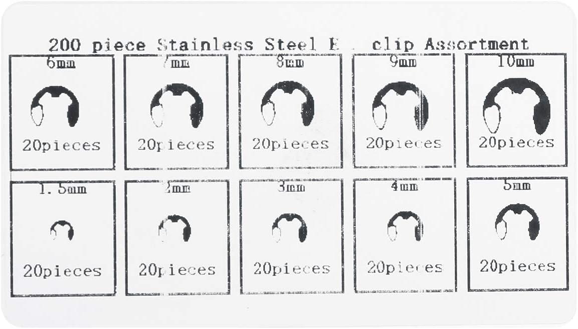 Viviance ZHVIVY 200Pc E-Clip Retaining Snap Ring Kit dassortiment de circlips de Type E 1.5-10mm en Acier Inoxydable