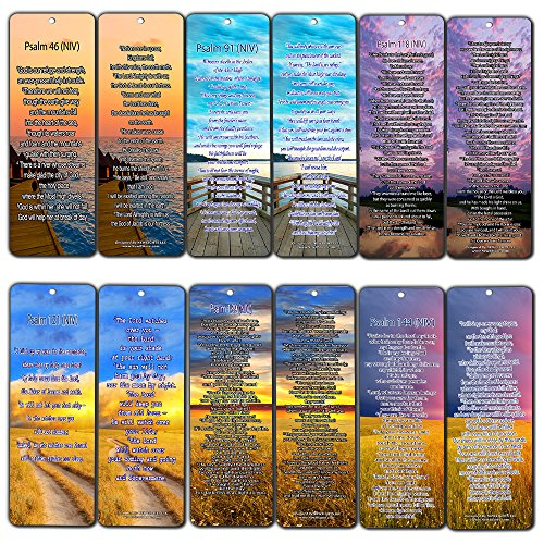 Bible Verse Bookmarks - Psalm Bookmarks - NIV Version (30-Pack) - Religious Christian Inspirational Gifts to Encourage Men Women Boys Girls - Bible Study Sunday School War Room Decor by NewEights (Image #8)
