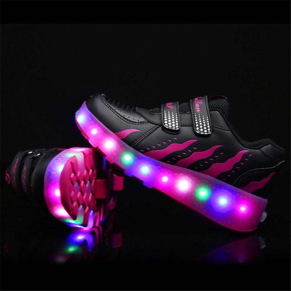 5659024739fe4 Unisex Enfants LED Clignotante Chaussures à Skates avec roulettes Doubles  Bouton Poussoir Ajustable lnline Patins à roulettes Course à Pied Sneakers  pour ...