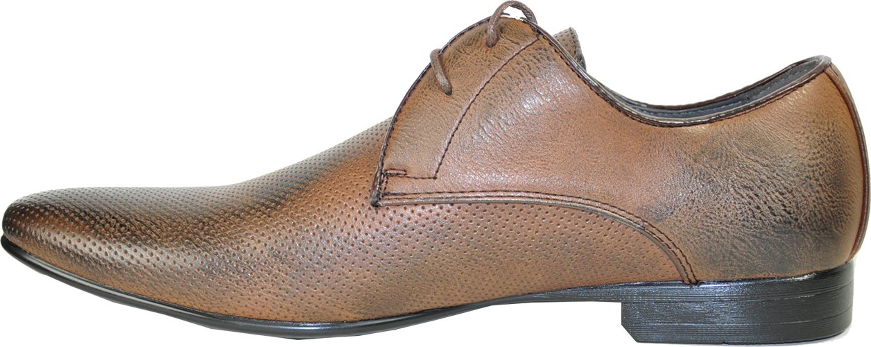 BRAVO Men Dress Shoes KLEIN-1 Oxford Fashion with Round Plain Toe Brown 7M by Bravo! (Image #6)