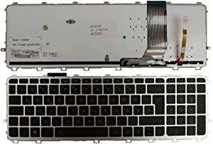 Keyboards4Laptops German Layout Silver Frame Backlit Black Windows 8 Laptop Keyboard Compatible with HP Envy 15-J084NR, HP Envy 15-J085NR, HP Envy 15-j089sf, HP Envy 15-j090ez, HP Envy 15-j091ef