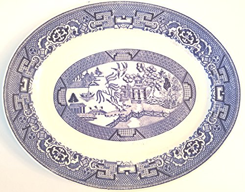 Blue Willow Oval Serving Platter - Approx 9.5