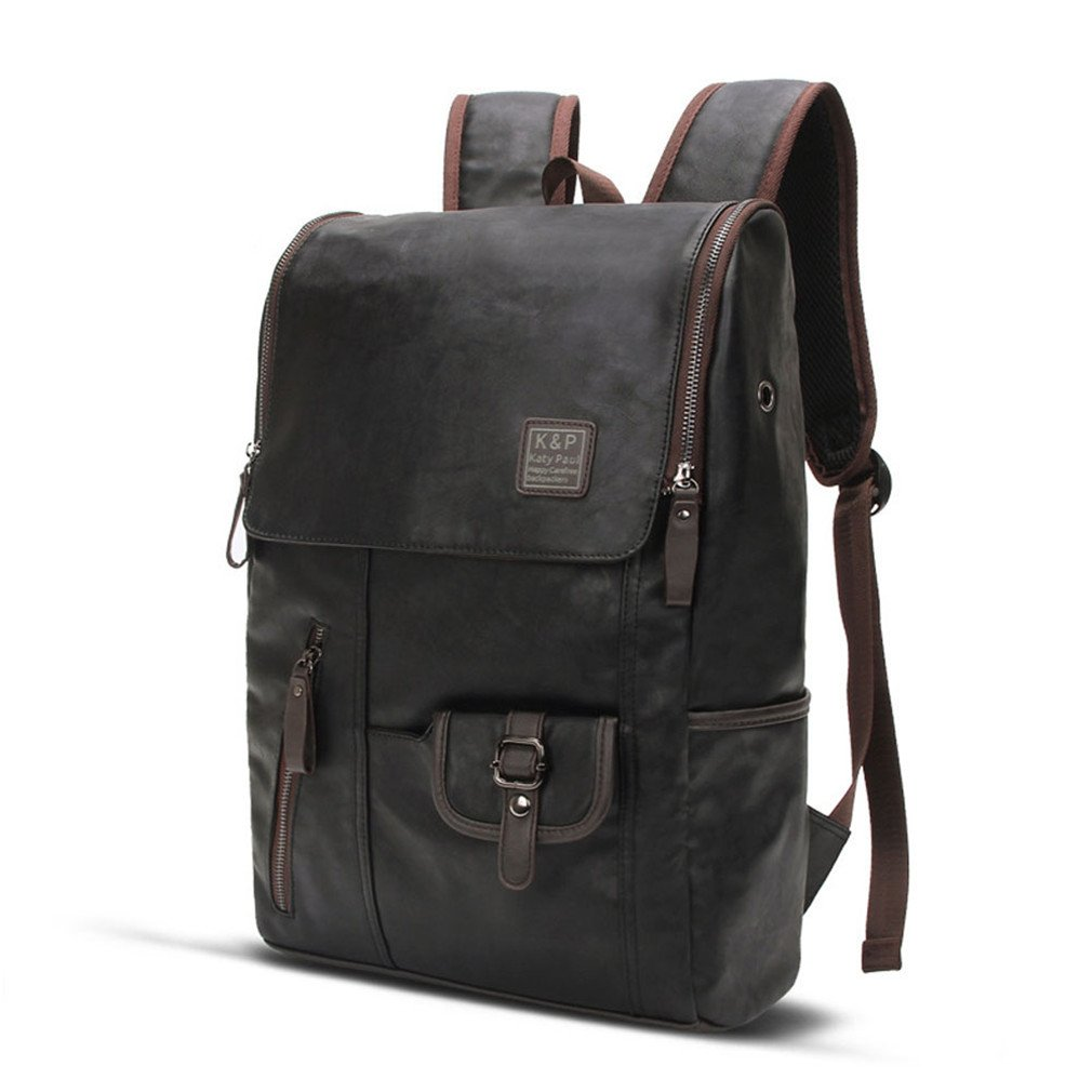 73365fd2782a Amazon.com  UKXMNC Business Casual Backpacks For School Travel Bag PU Leather  Men s Male Shoulder Bags Black  Sports   Outdoors