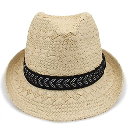 Amazon.com  Kinue Fashion Summer Straw Men s Sun Hats Trilby ... 0a4fa6dc7e9