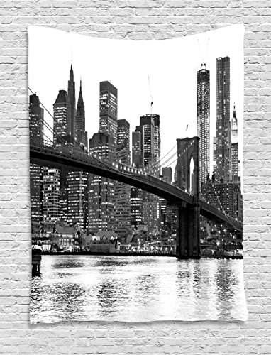 (Ambesonne Modern Tapestry, Brooklyn Bridge Sunset with Manhattan American New York City Famous Town Image, Wall Hanging for Bedroom Living Room Dorm, 60 W x 80 L Inches, Black and White)