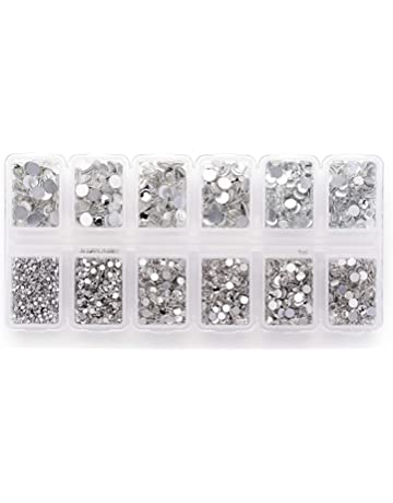 Zealer 1800pcs Clear Crystal Nail Art Rhinestones Round Beads Top Grade  Flatback Glass Charms Gems Stones 41f4c51bd64b