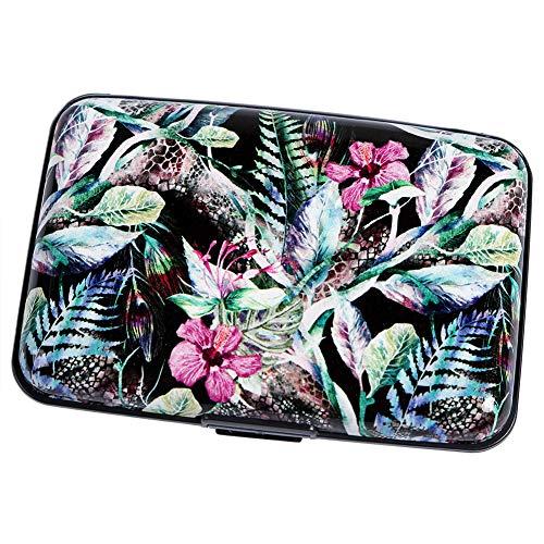 Aluminum Wallet RFID Blocking Metal Credit Card Holder Slim Hard Case (Tropical Floral) (Snake Card Case)
