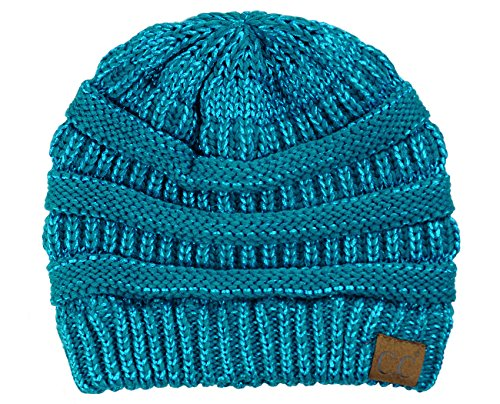 (C.C Trendy Warm Chunky Soft Stretch Cable Knit Beanie Skully, Teal)