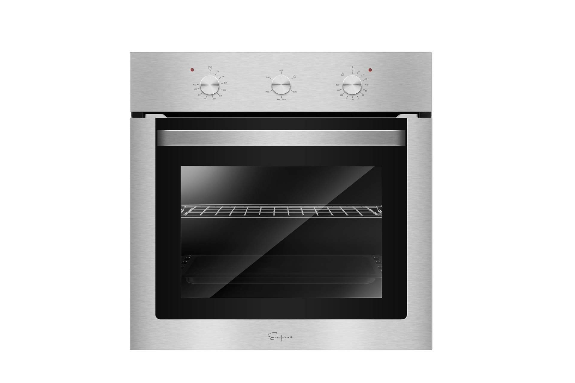Empava 24XWOA01 24'' Electric Single Wall Oven with Basic Broil Bake Functions Mechanical Knobs Control Stainless Steel, WOA01 by Empava