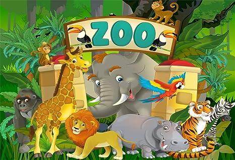 Yongfoto 3x2m Toile De Fond Foret Jungle Wildlife Animaux Feeriques Dessin Anime Parc Zoo Leopard Oiseaux Singe Fond Studio Banniere Photo Anniversaire Party Video Enfant Accessoires Photographie Amazon Fr Photo Camescopes