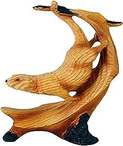 "StealStreet MME-975 Ss-Ug-Mme-975, 5"" Single Sea Otter Scene Carving Faux Wood Figurine, Brown"