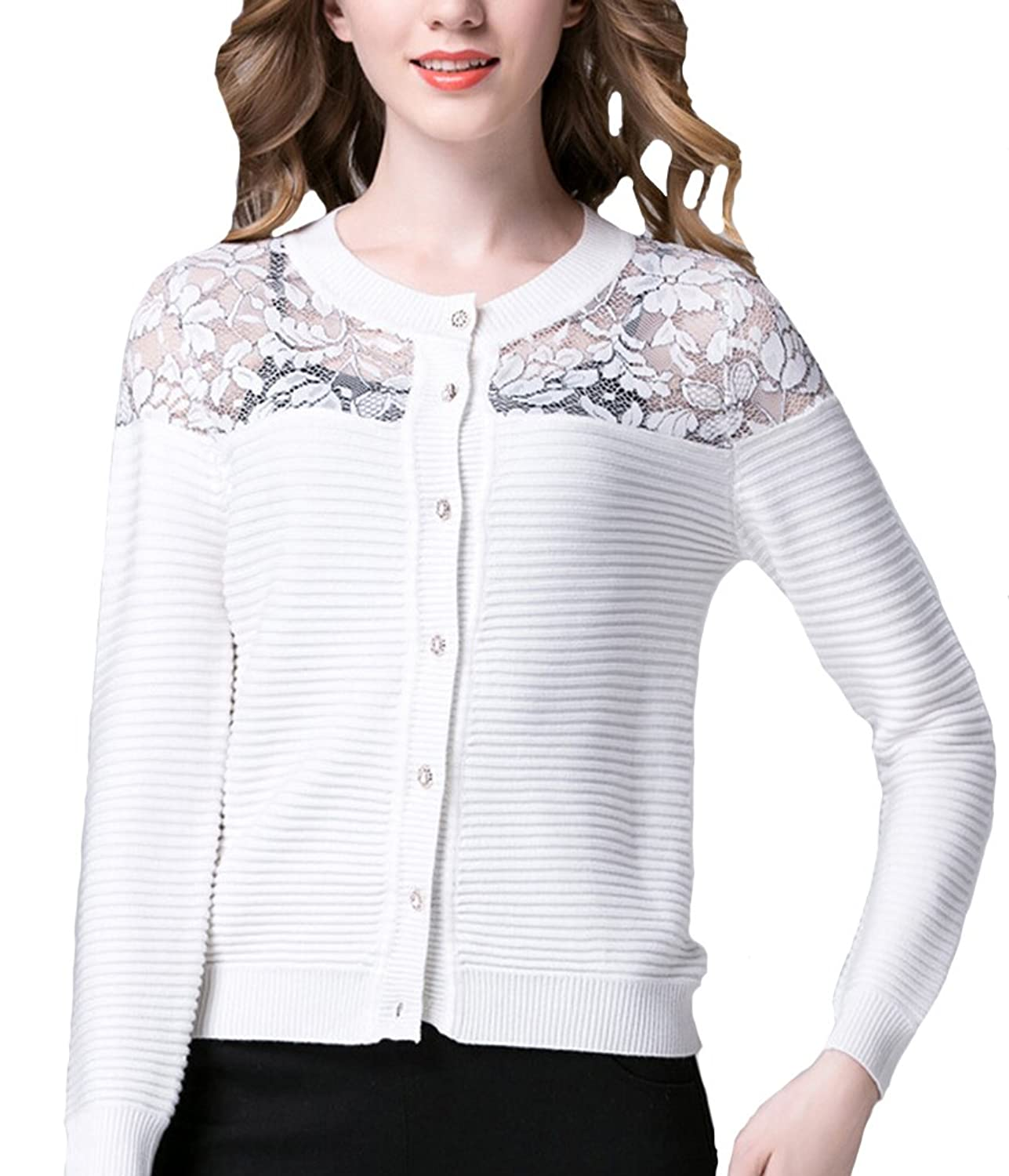 Broadmix Women's Youth Lace Flower Print Knitted Cardigan