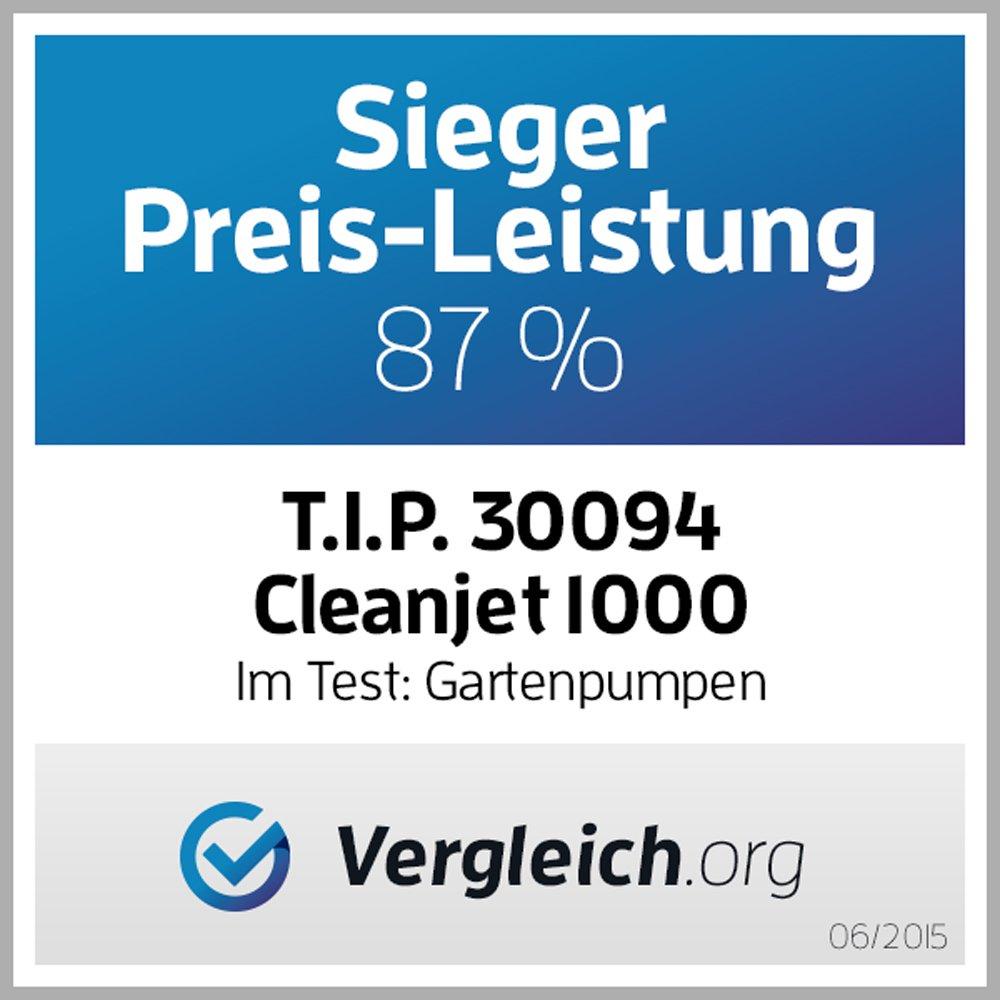 T.I.P. 30094 Gartenpumpe Edelstahl Clean Jet 1000 Plus mit 4m Ansauggarnitur, bis 3.300 l/h Fördermenge
