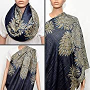 Nursing Cover - Nursing Scarf - Nursing Infinity Scarf - Breastfeeding Cover (Navy Blue with Floral Golden Beige Pattern)