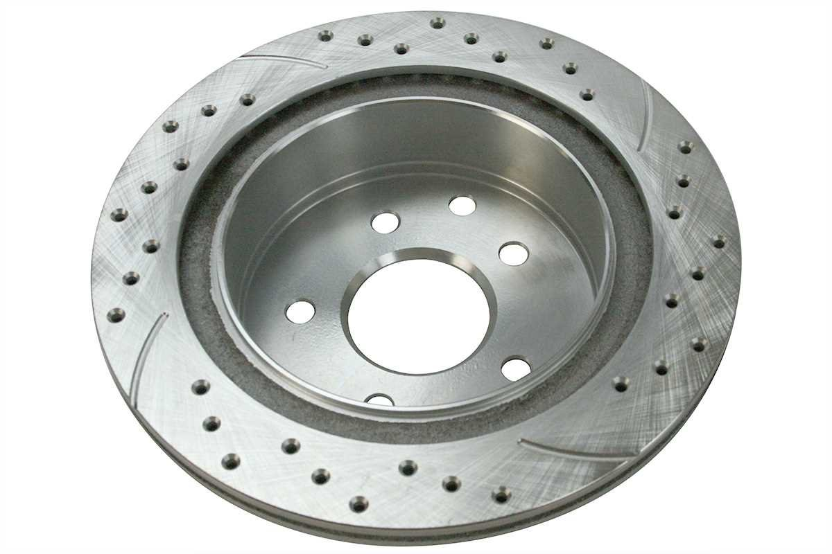 Prime Choice Auto Parts PR41351DSZPR Rear Set 2 Performance Silver Drilled Slotted Rotors 5 Stud