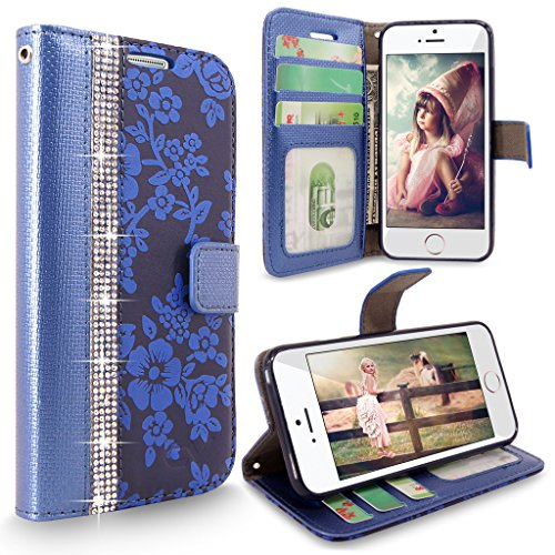 iPhone SE Case, Cellularvilla [Diamond] Embossed Flower Design Premium Pu Leather Wallet Case [Card Slot] Flip Protective Stand Cover For Apple iPhone SE (2016) & iPhone 5S / 5 - (Navy Blue Bling)