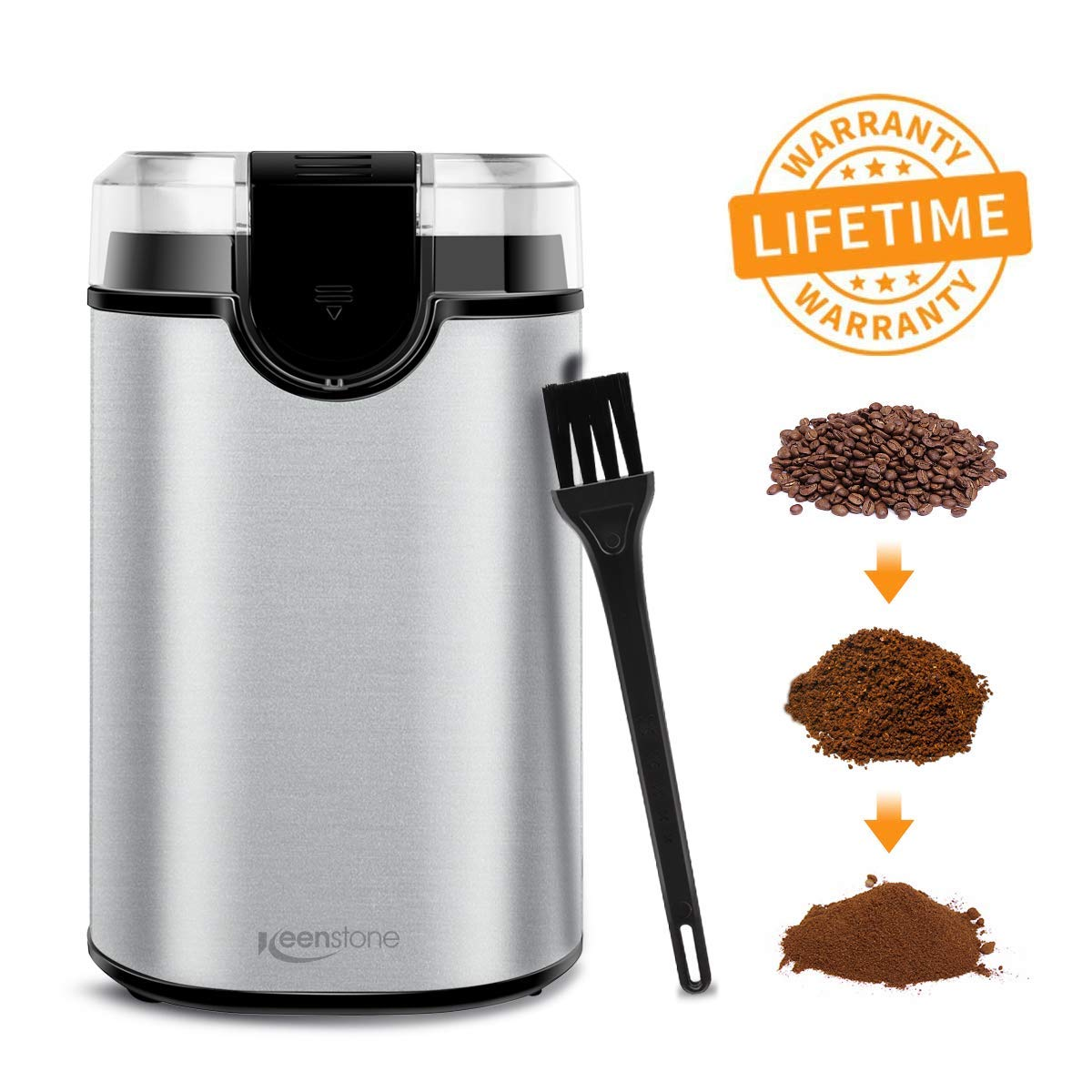 Coffee Grinder Electric, Spice Grinder Blade Grinders with Powerful Stainless Steel Blades and Cleaning Brush for Large Grinding Coffee Beans, Seed Nuts, Grains, Spices Herb Pepper【Lifetime Warranty】 by