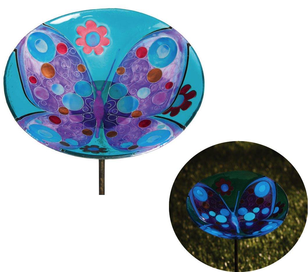Gifted Living Butterfly And Flowers Glow In The Dark Garden Stake Birdbath