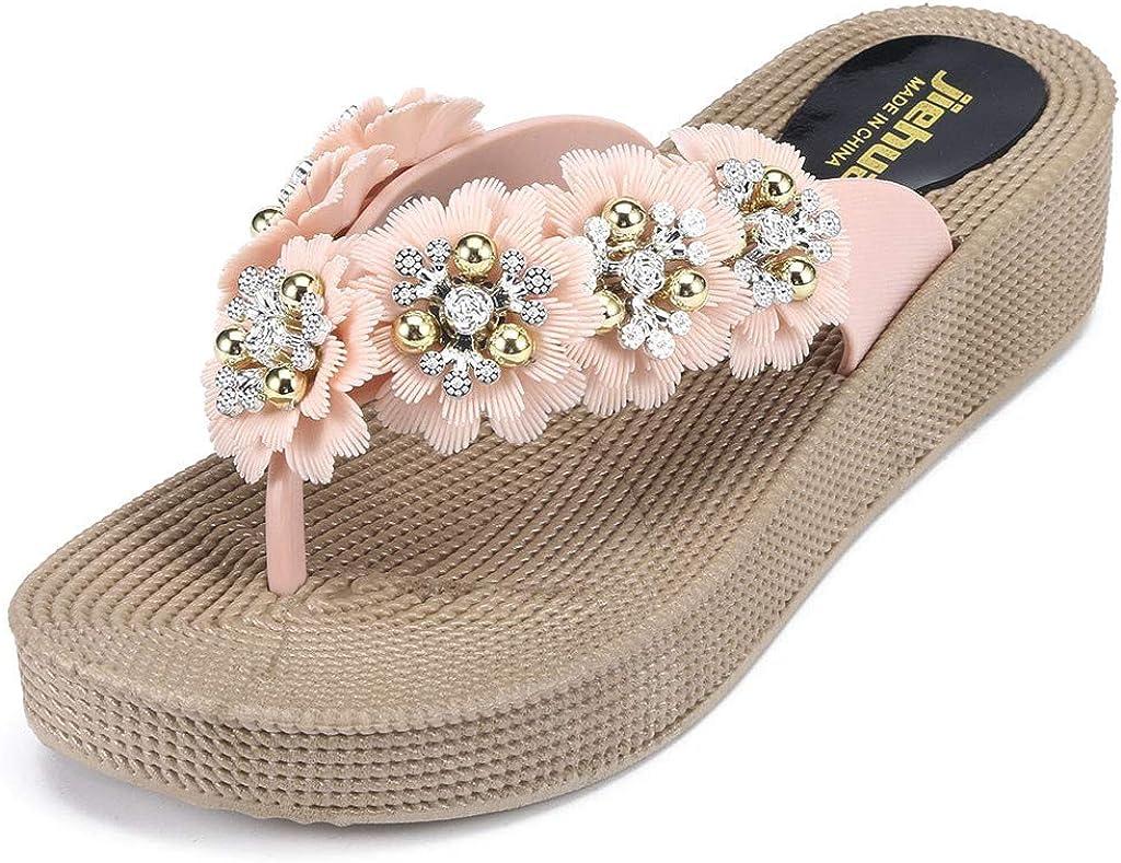 SCSAlgin Womens Breathable Lightweight Sandals Thick Bottom Wearable Flower Flip Flops