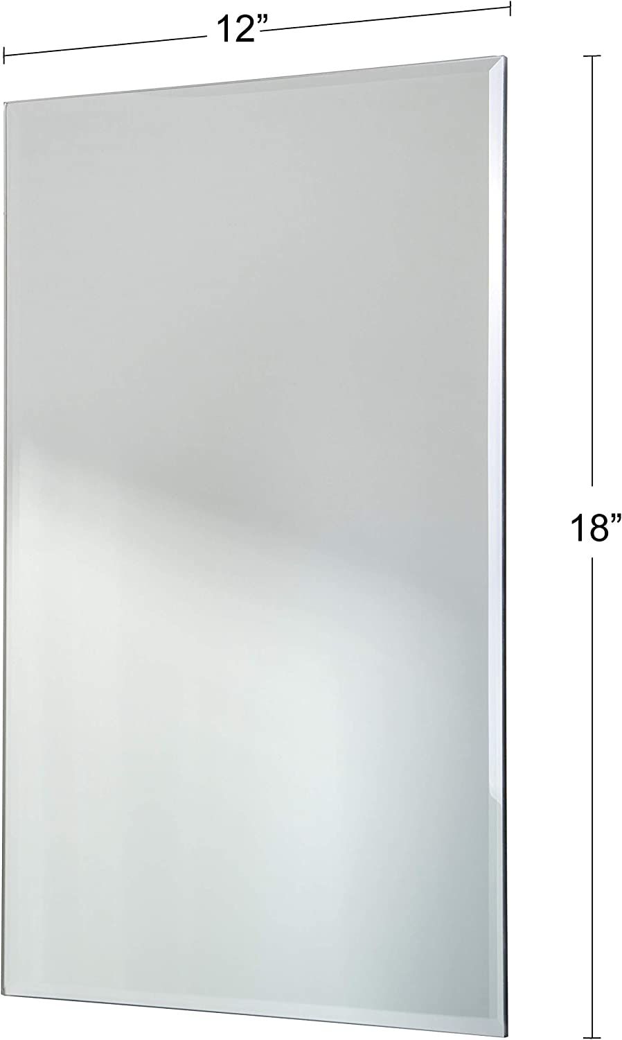 12x18 Inches Frameless with Beveled Edge Modern Minimalist Rectangular Mirror Large