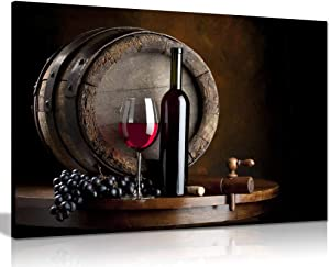 Wine and Fruit with Glass and Barrel for Kitchen Food Canvas Wall Art Picture Print (36x24)