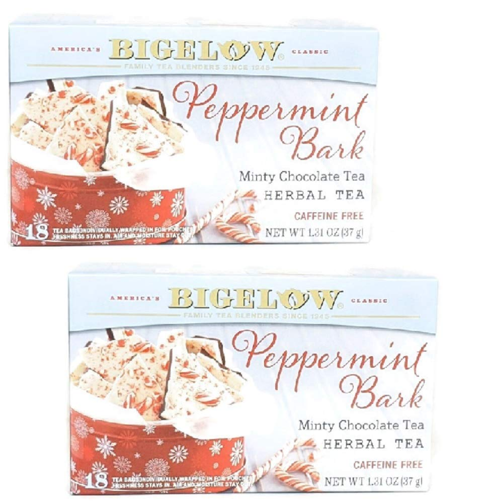 Bigelow Peppermint Bark Mint Chocolate Herb Tea (Pack of 2)
