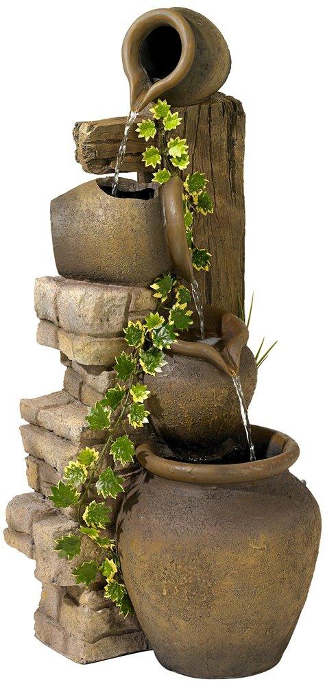 Three Rustic Jugs Cascading 33'' High Fountain