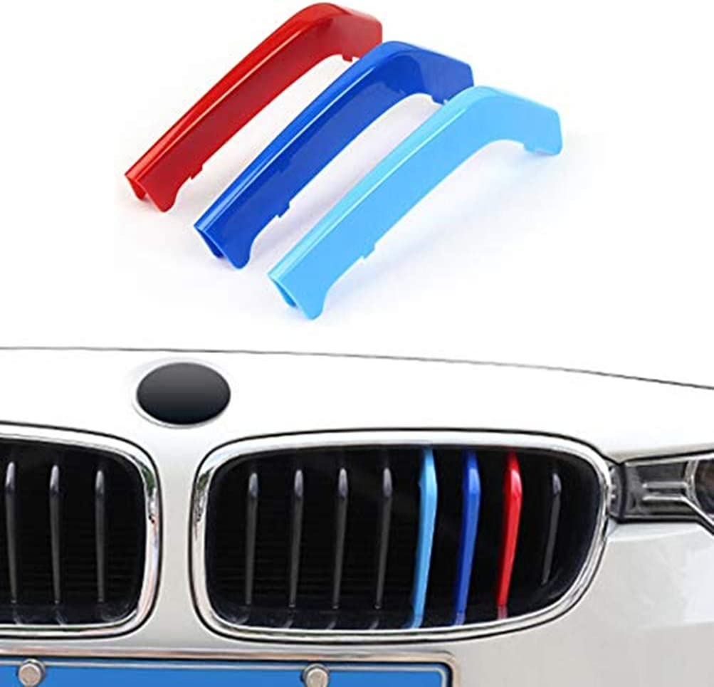 3D M Styling 3 Colors Front Grille Trim Motorsport Stripes Grill Cover Performance Stickers 3Pcs for 08-13 BMW X5 E70 7Grilles one Side