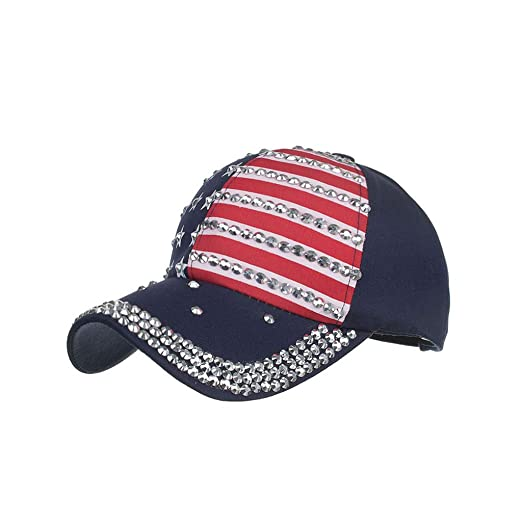 ab061aac American Flag Embroidered Washed Cotton Baseball Cap-Adjustable Rhinestone  Star Trucker Hat Snap Back Sun