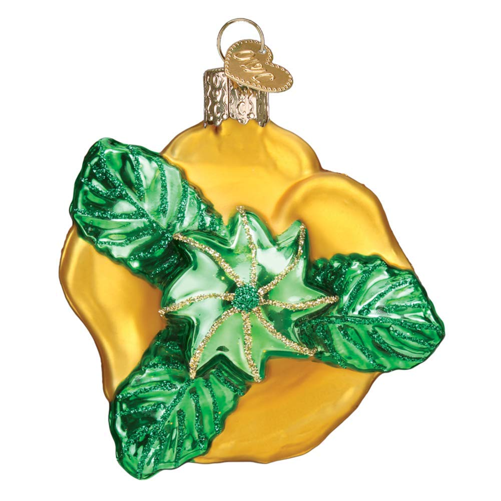 Old World Christmas Hanging Tree Ornament Yellow Rose