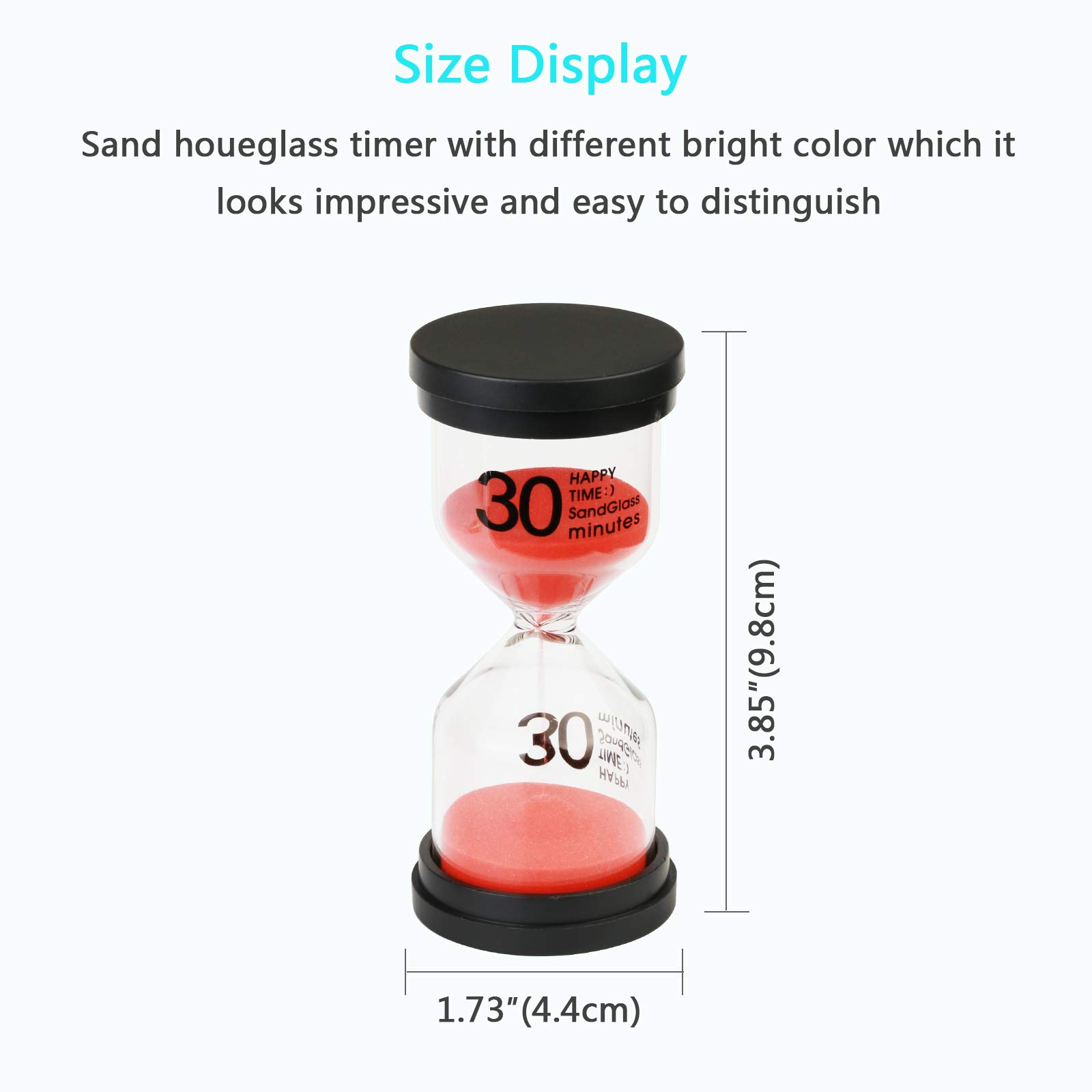 Sand Timer MEZOOM 6 Pcs Colorful Hourglass Sandglass 30 mins /15 mins /10 mins /5 mins /3 mins /1 min Sand Clock Timer with Gold Whistle for Kitchen Cooking Kids Classroom Home Decoration (Large) by MEZOOM (Image #7)