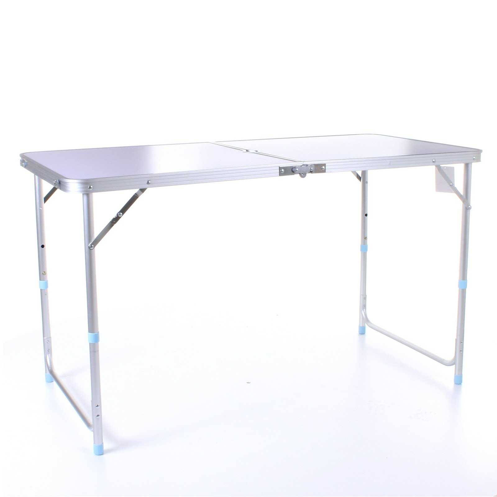 4FT Adjustable Aluminium Folding Portable Camping Table Party BBQ Parasol Hole