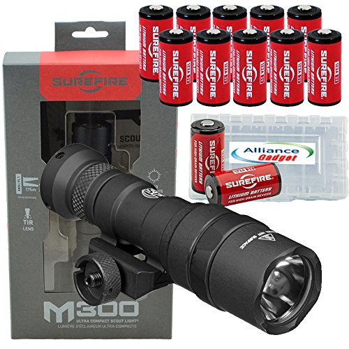 SureFire M300 Ultra Compact Mini Scout LED WeaponLight 500 Lumens with 12x Extra CR123A Batteries and 3 Battery Cases (Mini Surefire)