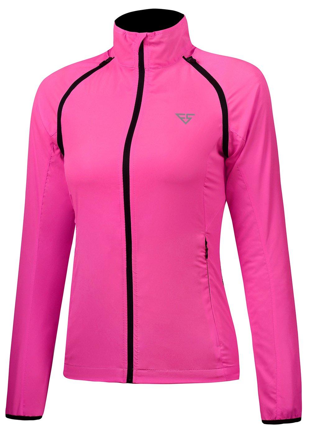 Fastorm Convertible Cycling Jacket Women's Windproof Lightweight Running Outdoor Sportwear Water Resistant Rose Red-L