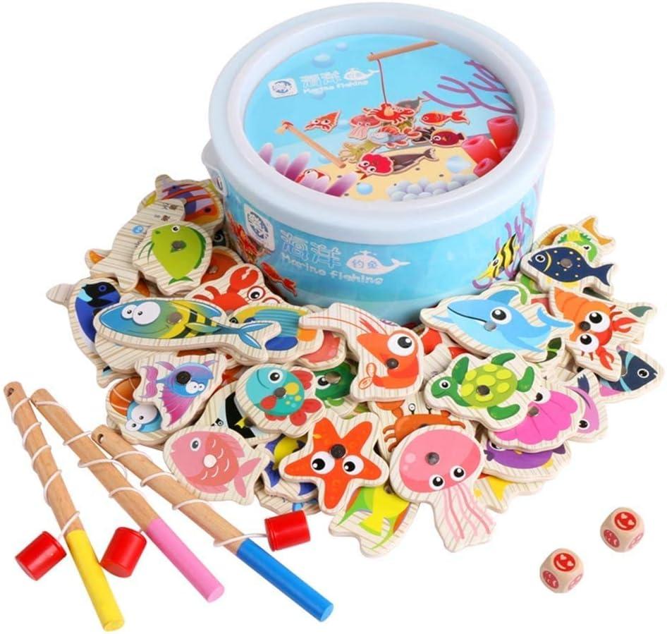 Juguetes Educativos 60pcs Pesca Juego Magnético/Set 3 Niños De Rod 3D Fish Bebé Al Aire Libre Juguetes Divertidos para Niños