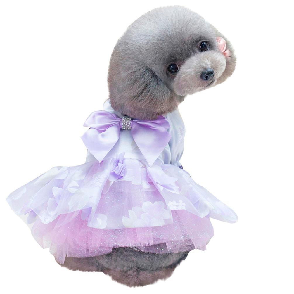 BYSTE Vestiti Animale domestico Cucciolo Estate Camicia Piccolo cane Gatto Gilet Gonna Maglietta Tutu T-Shirt Top Gonna a fiori fata Vestito da principessa per Cane Abito da sposa