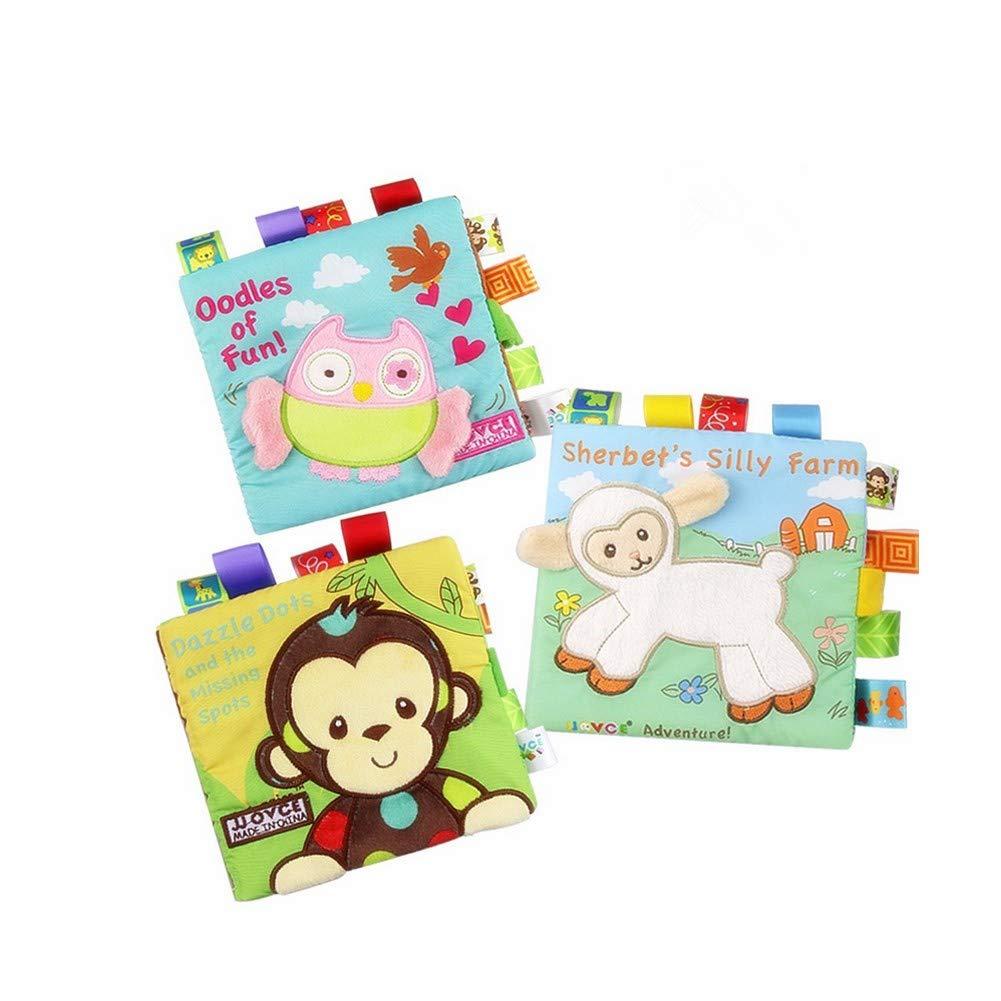 juguetes educativos para ni/ños y beb/és libro suave tela no t/óxica 3 unidades HOWADE Libros de ropa para beb/é