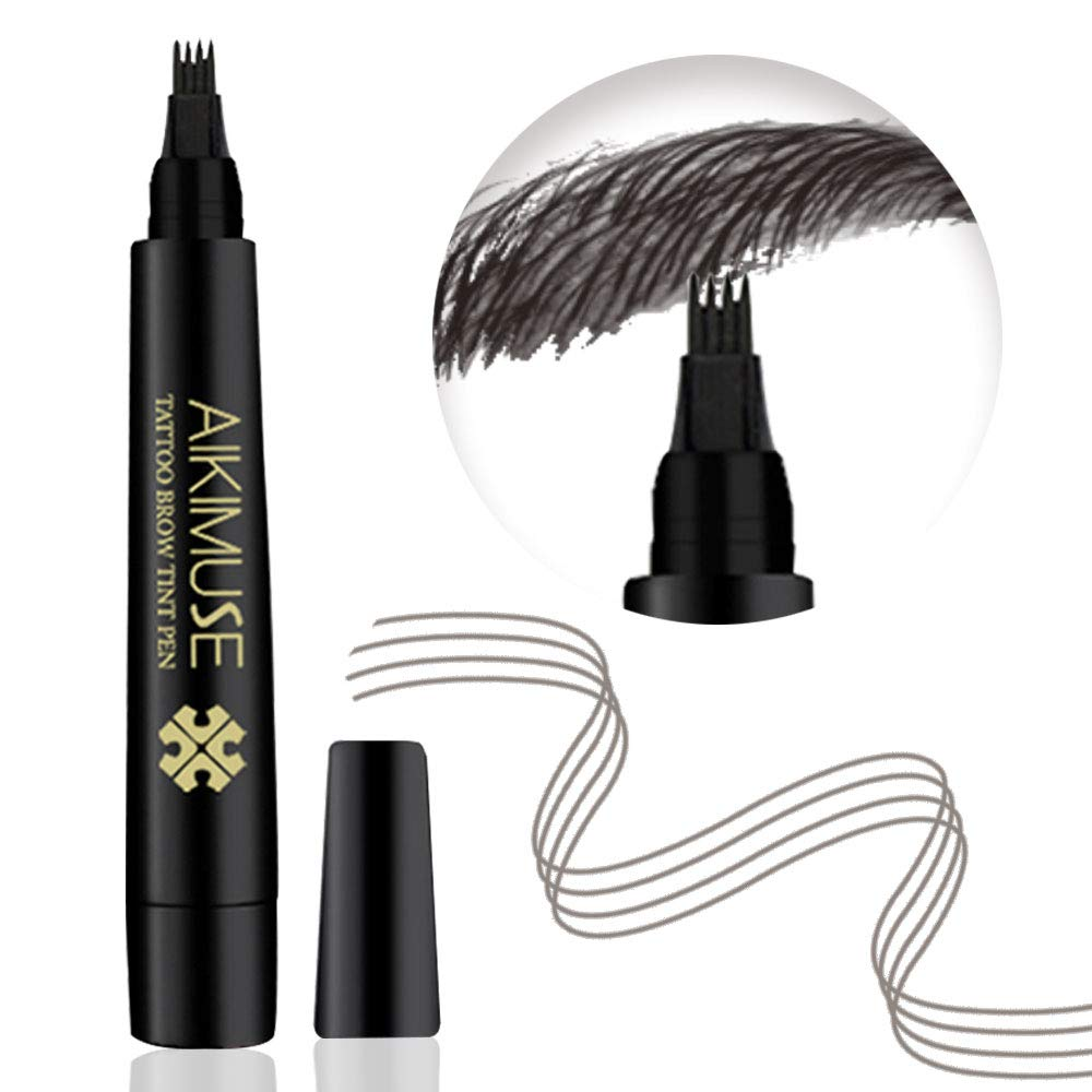 Microblading Eyebrow Pen, Waterproof brow Pencil, Eyebrow Tattoo Pen, Natural Looking, Long Lasting (JET BLACK)