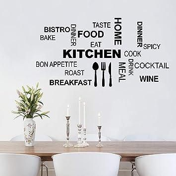 decalmile Adesivi Murali Scritte e Frasi Adesivi da Parete Cucina Cibo  Decorazione Murale Camerette Sala da Pranzo Soggiorno