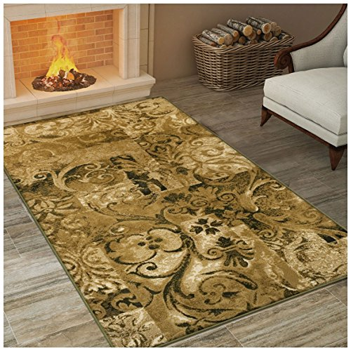 - Superior Modern Scroll Collection Area Rug, Elegant Scrolling Patchwork Design, 10mm Pile Height with Jute Backing, Affordable Contemporary Rugs - 8' x 10' Rug