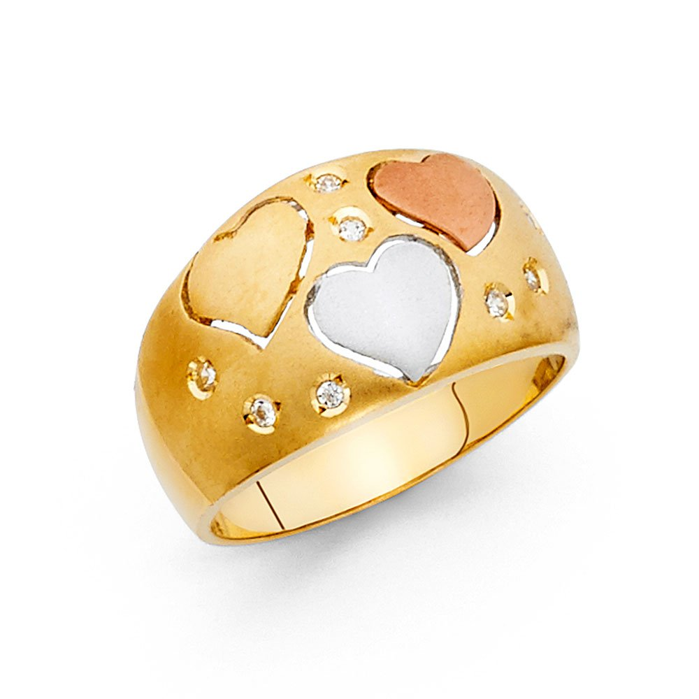 Heart Band CZ Solid 14k Yellow White Rose Gold Three Hearts Ring Wide Dome Style Satin Polished, Size 9 by GemApex