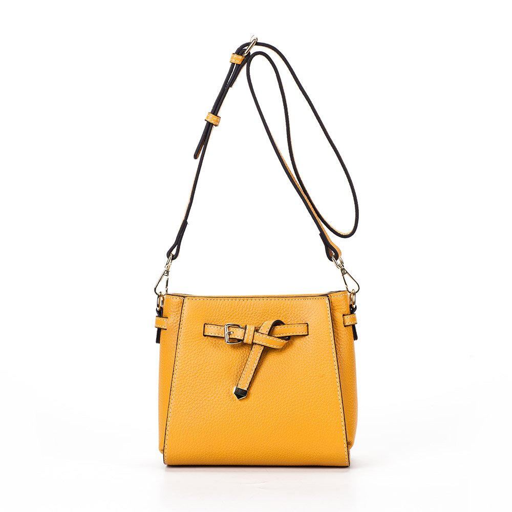 Yellow MT MIT Genuine Leather Retro Handbag Tote Bag for Women With Shoulder Strap